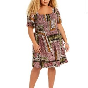 Band of Gypsies Patchwork Fit & Flare Mini Dress